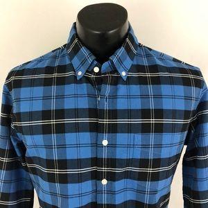 J. Crew Button Up Shirt Oxford Plaid Slim L Blue